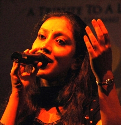 Ananya Bhoumik performing in concert